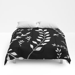 White Leaves Pattern #3 #drawing #decor #art #society6 Comforters