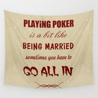 poker Wall Tapestries featuring Playing Poker by J. Ekstrom