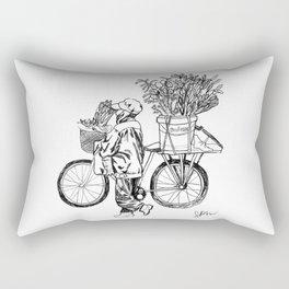 Bicycle Flower Seller in Hanoi in Pencil Rectangular Pillow