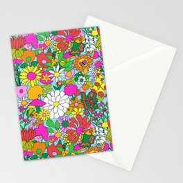 60's Groovy Garden in Blue Stationery Cards
