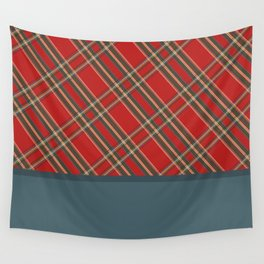 Red plaid patterns and blue color blocks Wall Tapestry