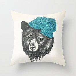bear in blue Throw Pillow