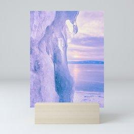 Ice cliff of Lake Baikal Mini Art Print