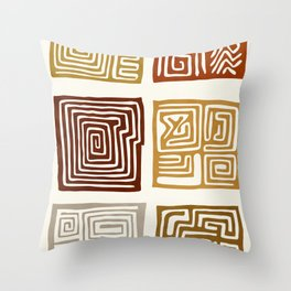 African Ceremonial Pattern Throw Pillow