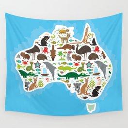 map of Australia. Echidna Platypus ostrich Emu Tasmanian devil Cockatoo parrot Wombat snake turtle Wall Tapestry