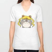 ghibli V-neck T-shirts featuring Sailor Ghibli by KiraKiraDoodles