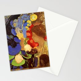 """Odilon Redon """"Woman among the Flowers"""" Stationery Cards"""