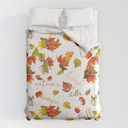 Autumn Leaves Hello Fall! Duvet Cover