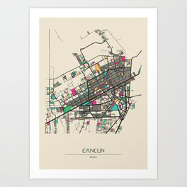 Colorful City Maps: Cancun, Mexico Art Print