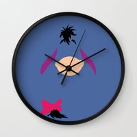 winnie the pooh Wall Clocks featuring Winnie the Pooh - Eeyore by TracingHorses