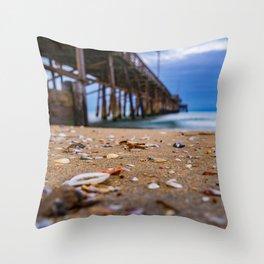 Shells at Newport Pier Throw Pillow