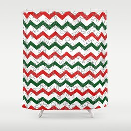 Sweet Forest Green  Red Chevron Silver Christmas Ginger Bread Man Shower Curtain