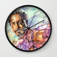 tony stark Wall Clocks featuring Tony Stark by Trenita