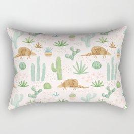 Armadillos in the Desert - Watercolor Rectangular Pillow