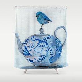 Blue Bird on Teapot Shower Curtain