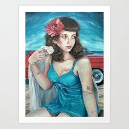 Blue Pin Up Girl, Portrait Oil Painting with Flower Tattoos and Hot Rod Convertible Beach in Summer Art Print