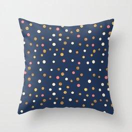Hipster navy blue faux gold glitter modern polka dots Throw Pillow