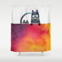 cats Shower Curtains featuring Cats by Cat Coquillette