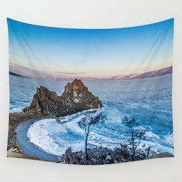 Shaman Rock on Olkhon Island, Baikal Wall Tapestry