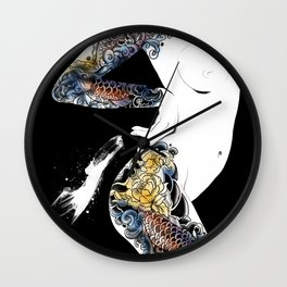 Traditional japanese body koi tattoo, Black and white illustration, Nude art, Naked beauty body Wall Clock