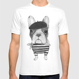 French Bulldog. (black and white version) T-shirt