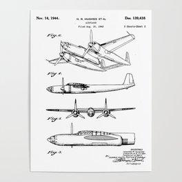 Hughes Lockheed Airplane Patent - Hughes Aviation Art - Black And White Poster
