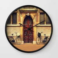 bicycles Wall Clocks featuring Two Bicycles by Indigo Rayz