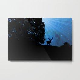 Moon & Deer - JUSTART © Metal Print