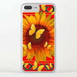RED KANSAS SUNFLOWERS BUTTERFLY ART Clear iPhone Case