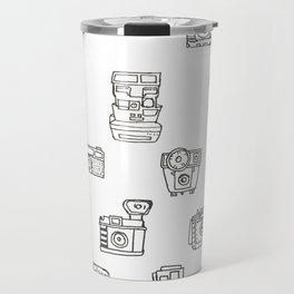 Cameras: Black - pop art illustration Travel Mug