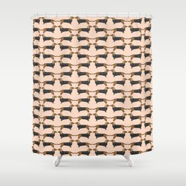 Happy Dachshund Dogs by Andrea Lauren  Shower Curtain