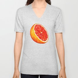 Grapefruit Pattern - Black Unisex V-Neck
