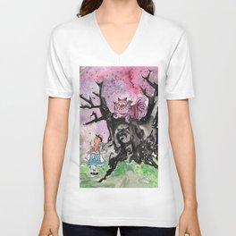 Alice & the Cheshire Cat Unisex V-Neck