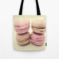macaroons Tote Bags featuring macaroons by  Alexia Miles photography