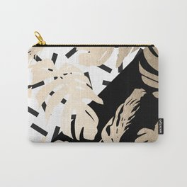 Simply Tropical Midnight Black Memphis Palm Leaves Carry-All Pouch