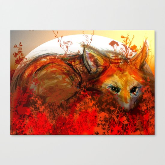 Fox in Sunset III Canvas Print
