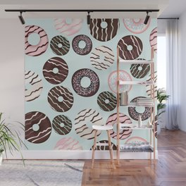 Vector pattern with sweet brown chocolate donuts for design Wall Mural