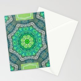 Octagon Kaleidoscope Flower in Green Turquoise and Gray Stationery Cards