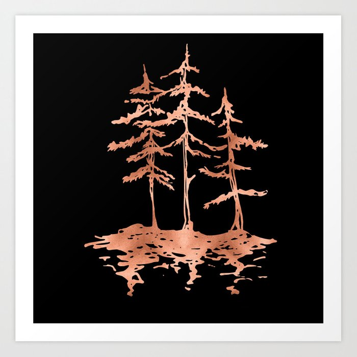 THE THREE SISTERS Trees Rose Gold Art Print