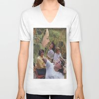 sisters V-neck T-shirts featuring Sisters by Jon Duci