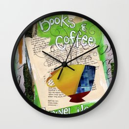 Books and Coffee Wall Clock