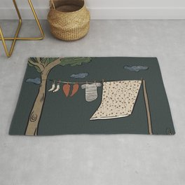 Hung out to dry - Laundry, Heartbroken Illustration  Rug