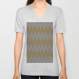 Gray Brown Zigzag Horizontal Stripe Pattern 2021 Color of the Year Ultimate Gray & Accent Shade Unisex V-Neck
