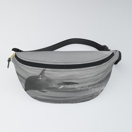 Black and white dolphin race in the ocean Fanny Pack