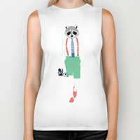 raccoon Biker Tanks featuring Raccoon by Nathalie Otter