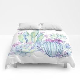 Mixed Cacti White #society6 #buyart Comforters