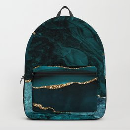 Teal & Gold Agate Texture 02 Backpack