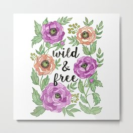 Wild & Free Watercolor Illustration Metal Print