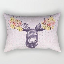 Flower Blossom Antlers Moose Head Rectangular Pillow