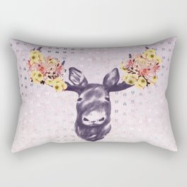 Flower Blossom Antlers Moose Head Rectangular Pillow